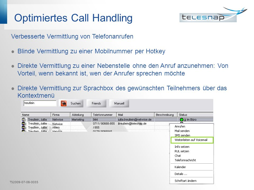 Optimiertes Call Handling