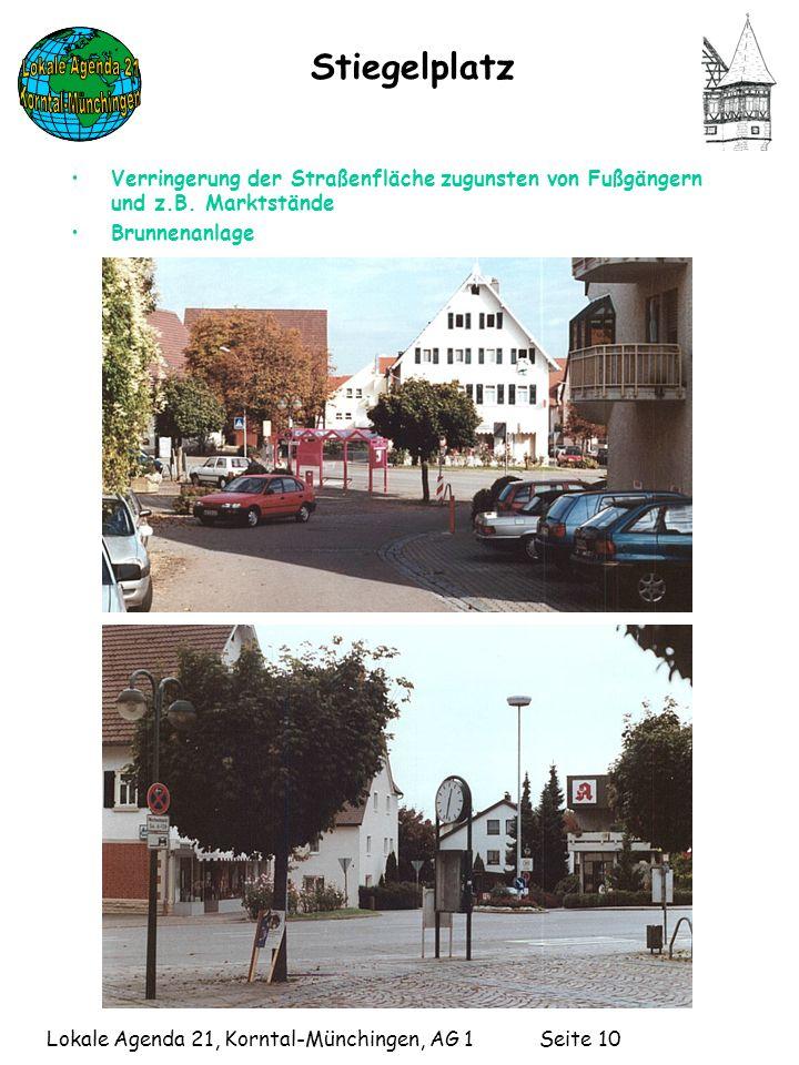 Stiegelplatz Verringerung der Straßenfläche zugunsten von Fußgängern und z.B. Marktstände. Brunnenanlage.