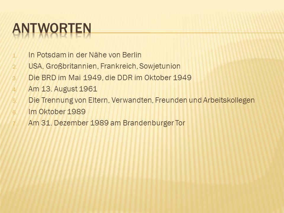 Antworten In Potsdam in der Nähe von Berlin