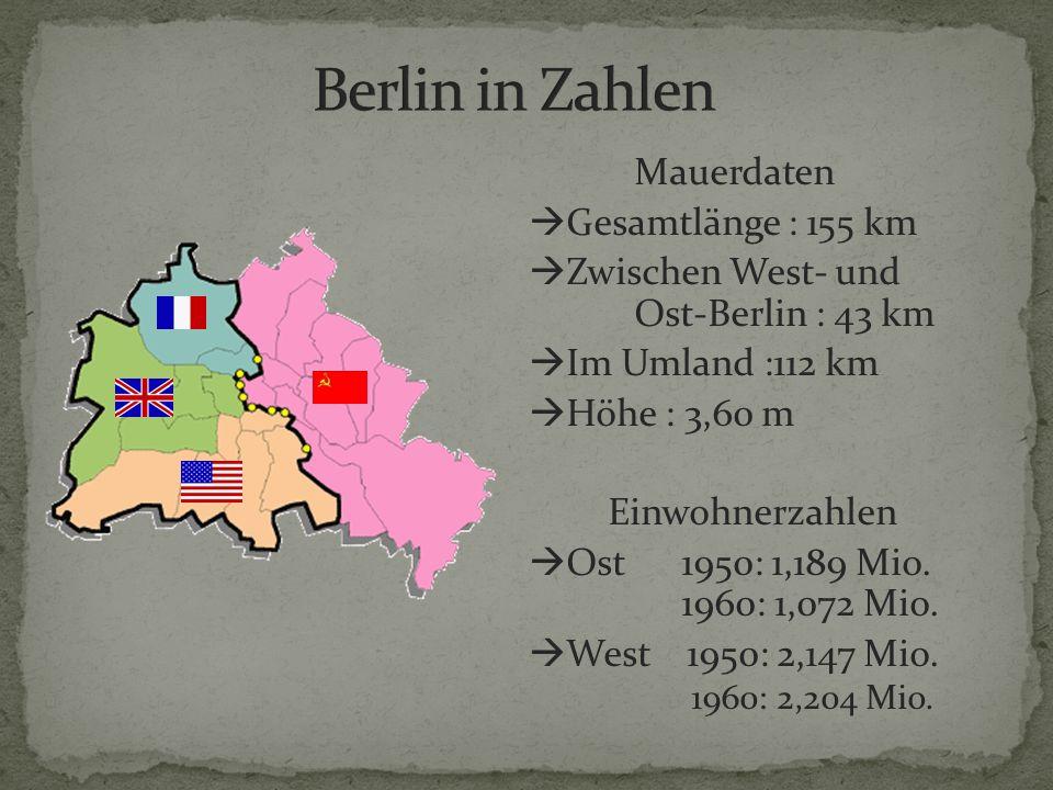 Berlin in Zahlen Mauerdaten Gesamtlänge : 155 km