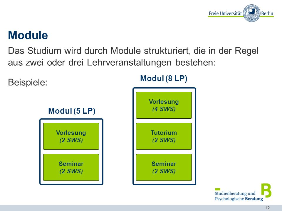 Module Das Studium wird durch Module strukturiert, die in der Regel aus zwei oder drei Lehrveranstaltungen bestehen: