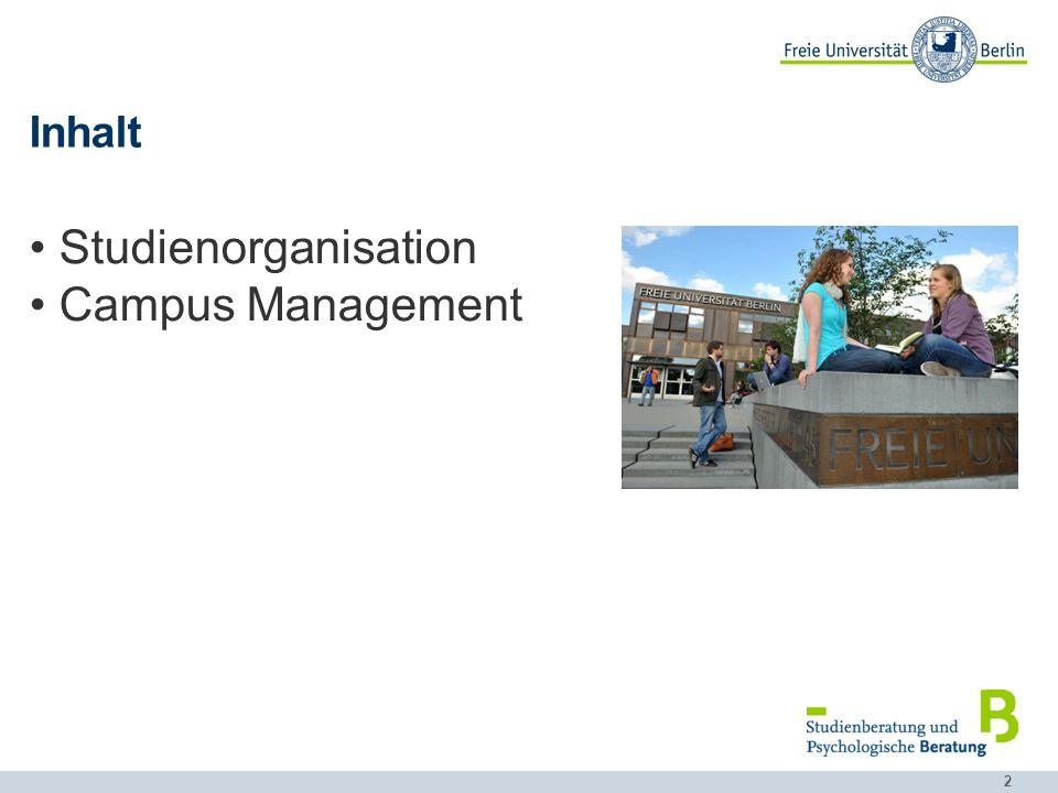 Inhalt Studienorganisation Campus Management
