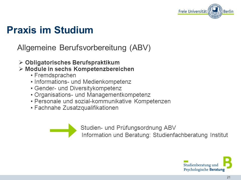 Praxis im Studium Allgemeine Berufsvorbereitung (ABV)