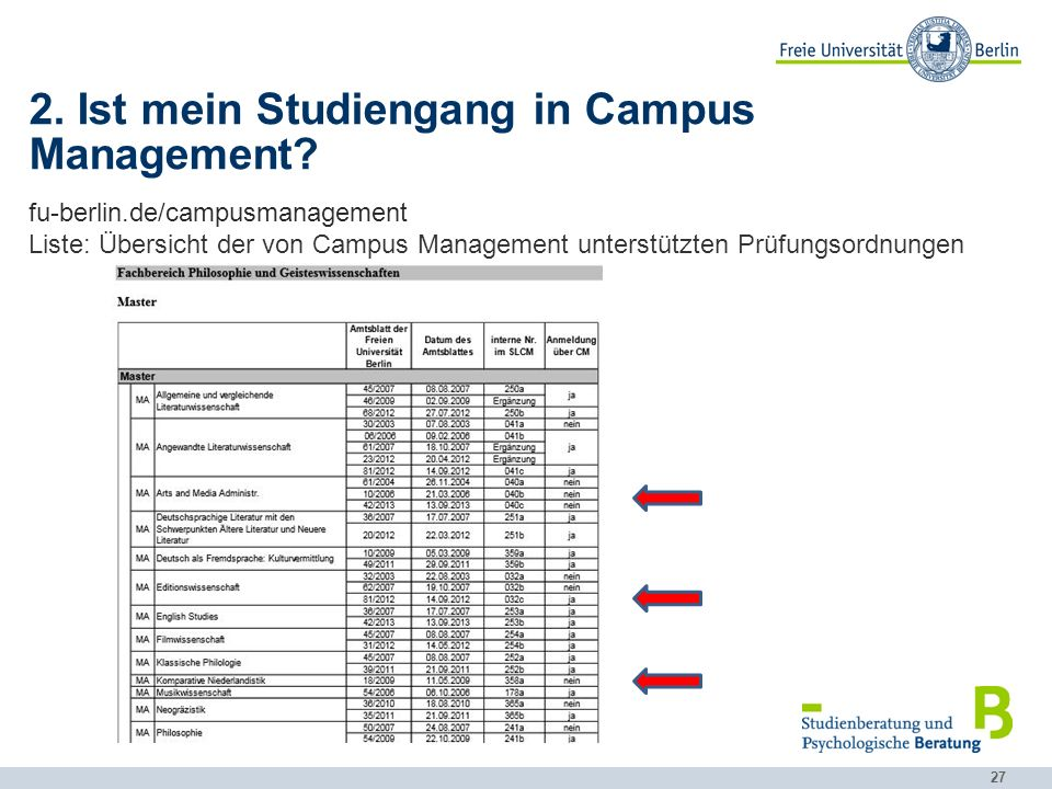 2. Ist mein Studiengang in Campus Management