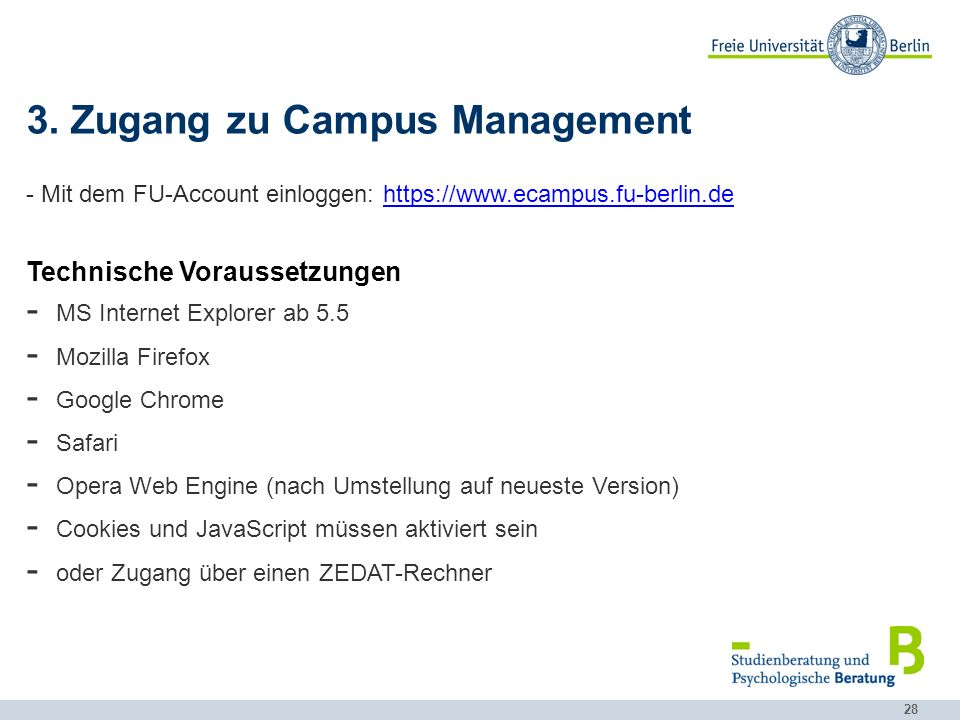 3. Zugang zu Campus Management