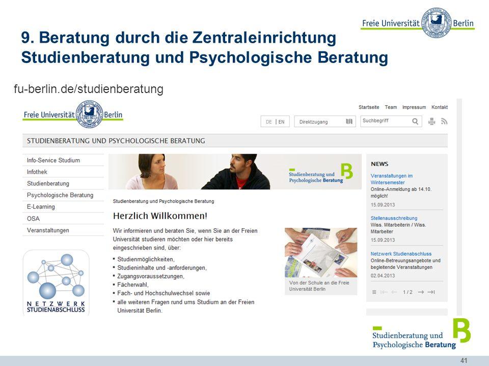 9. Beratung durch die Zentraleinrichtung Studienberatung und Psychologische Beratung