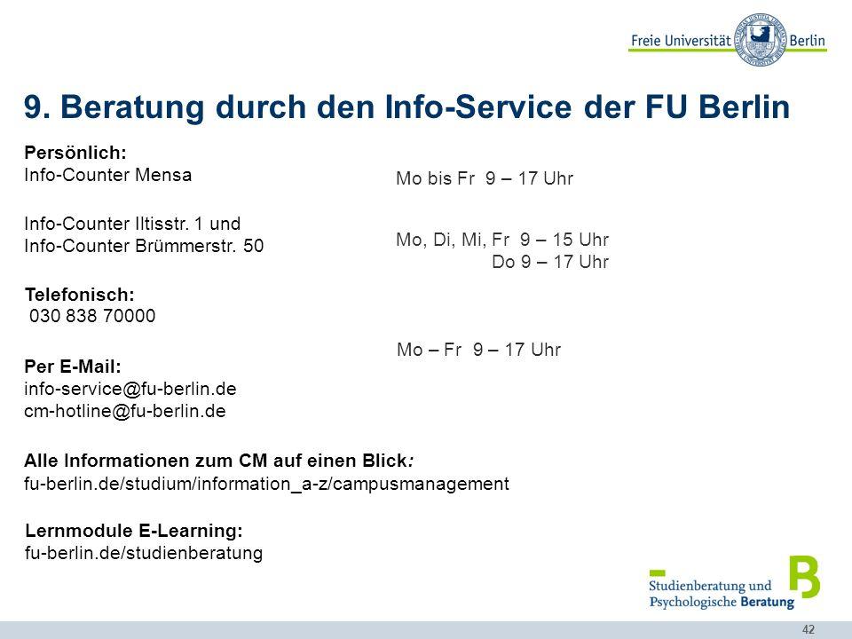 9. Beratung durch den Info-Service der FU Berlin