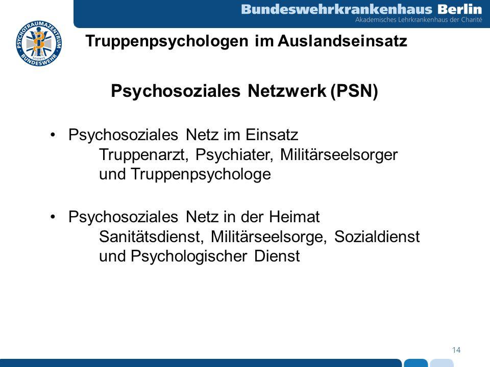 Truppenpsychologen im Auslandseinsatz Psychosoziales Netzwerk (PSN)