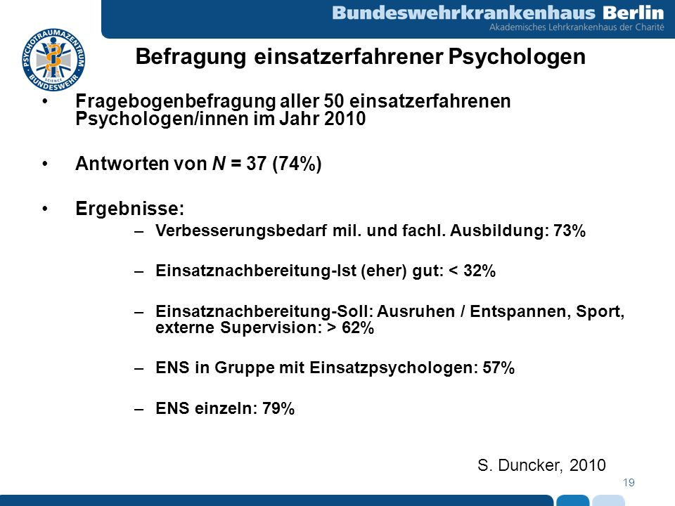 Befragung einsatzerfahrener Psychologen