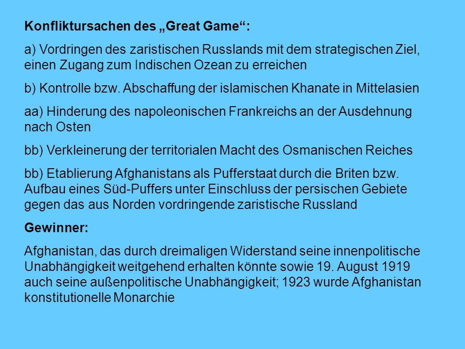 "Konfliktursachen des ""Great Game :"