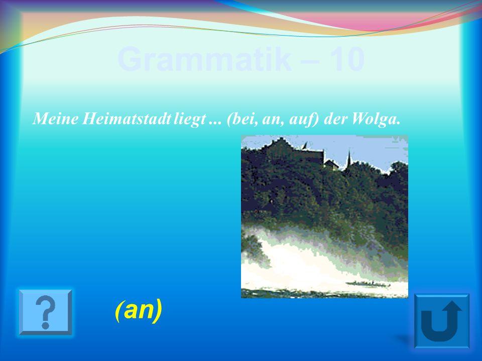 Grammatik – 10 Meine Heimatstadt liegt ... (bei, an, auf) der Wolga. (an)
