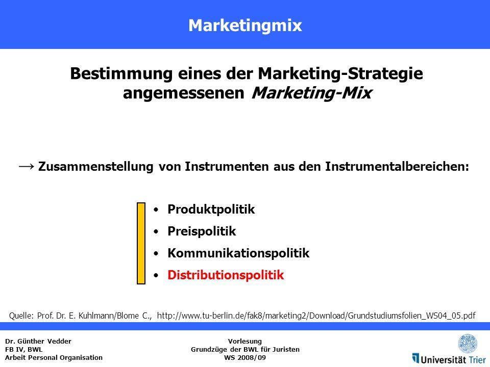 Bestimmung eines der Marketing-Strategie angemessenen Marketing-Mix