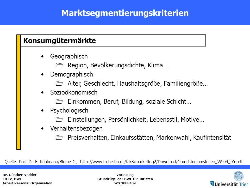 Marktsegmentierungskriterien