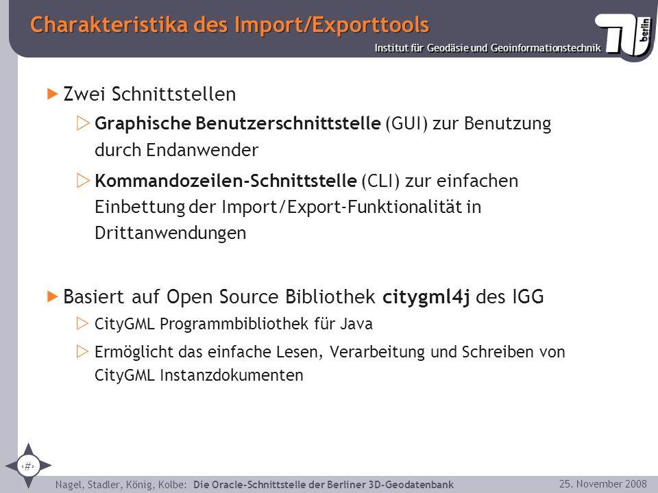 Charakteristika des Import/Exporttools