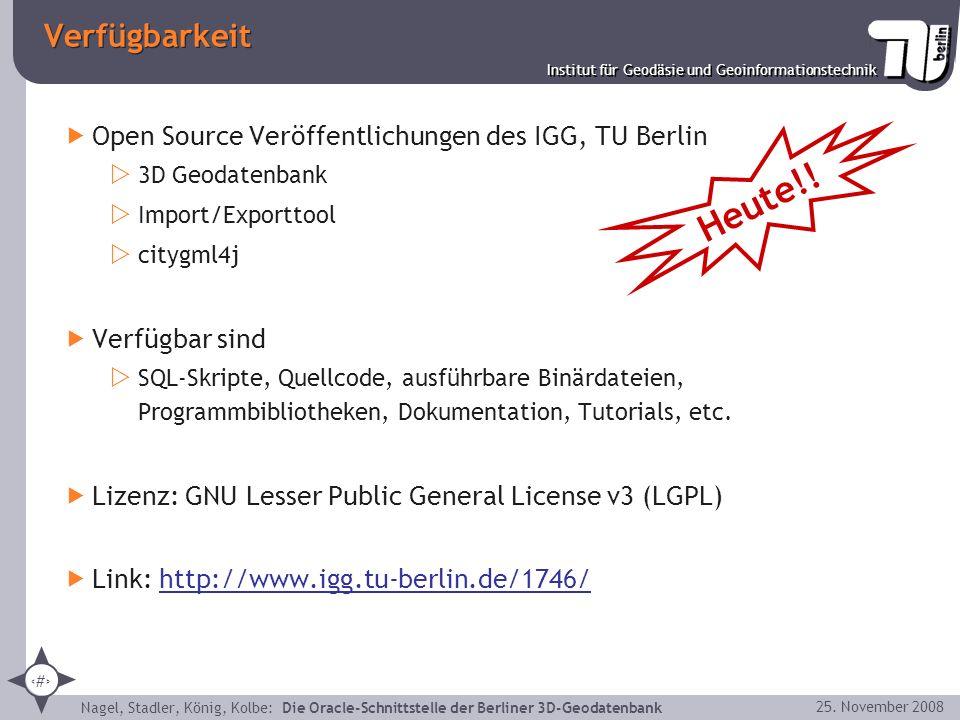 Verfügbarkeit Open Source Veröffentlichungen des IGG, TU Berlin. 3D Geodatenbank. Import/Exporttool.