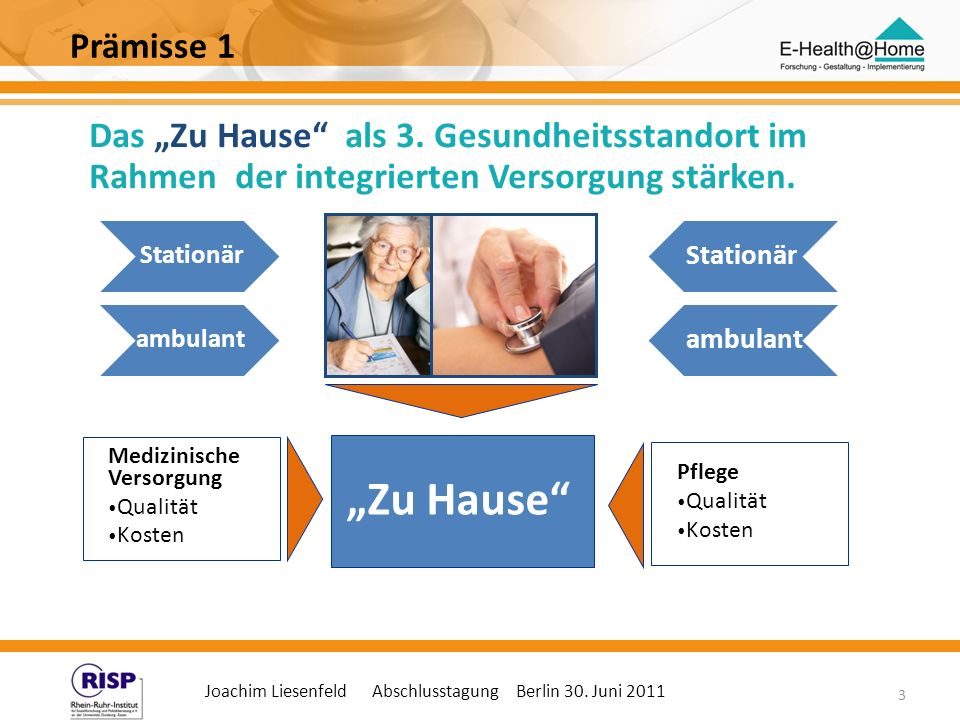 """""""Zu Hause Prämisse 1 Das """"Zu Hause als 3. Gesundheitsstandort im"""