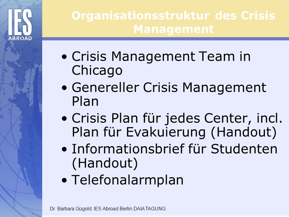 Organisationsstruktur des Crisis Management