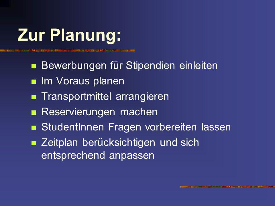 Zur Planung: Bewerbungen für Stipendien einleiten Im Voraus planen