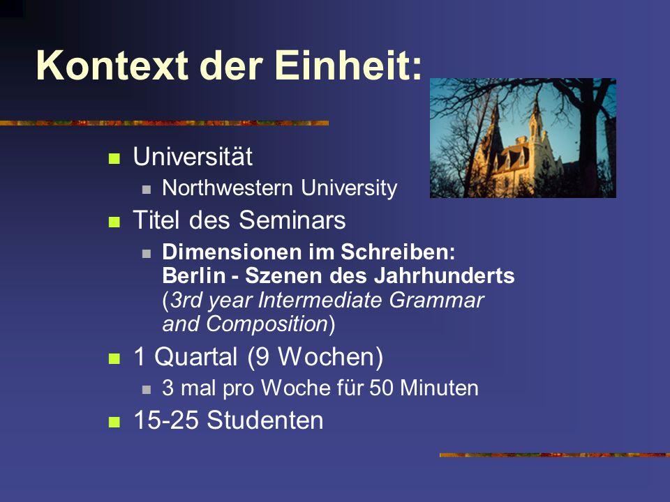 Kontext der Einheit: Universität Titel des Seminars