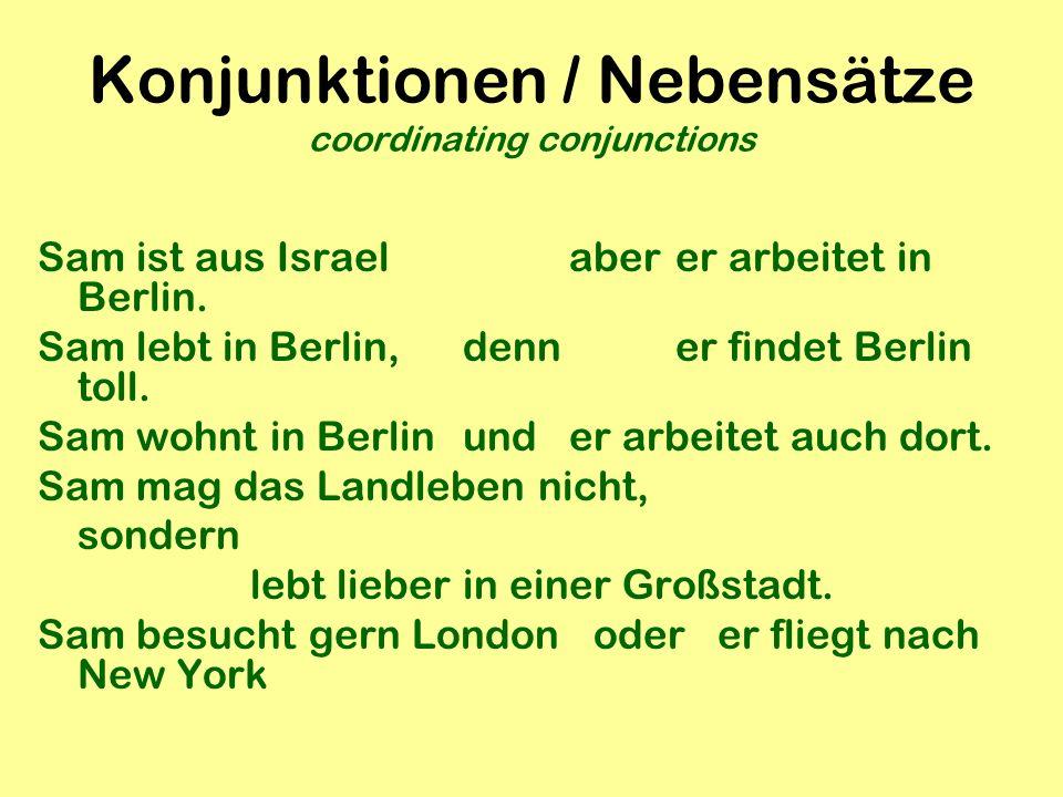 Konjunktionen / Nebensätze coordinating conjunctions
