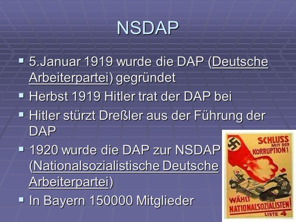 NSDAP 5.Januar 1919 wurde die DAP (Deutsche Arbeiterpartei) gegründet