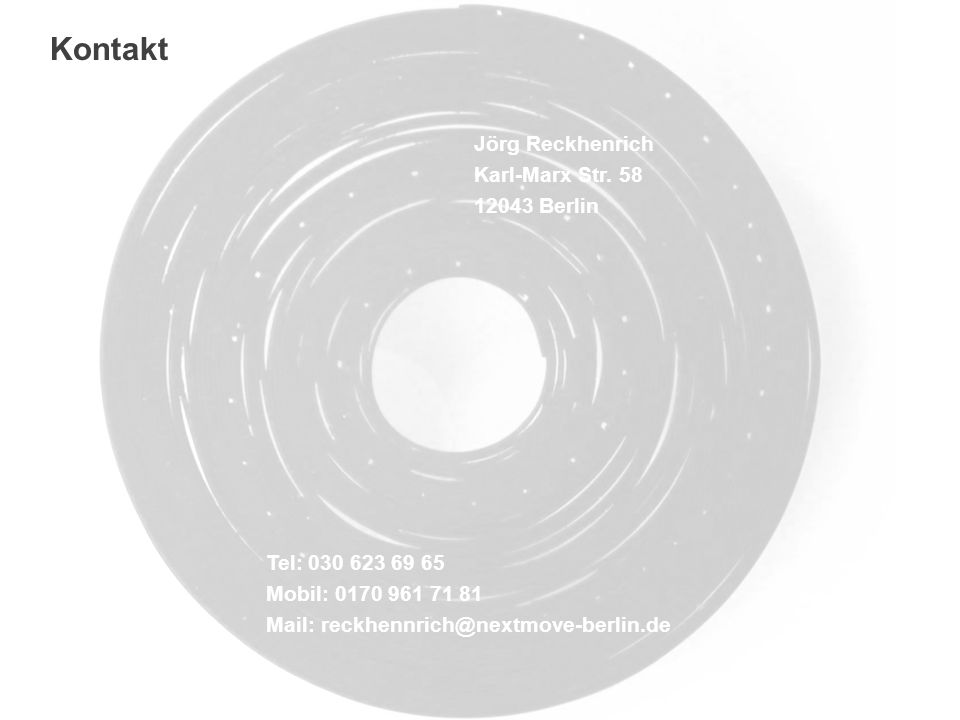 Kontakt Jörg Reckhenrich Karl-Marx Str. 58 12043 Berlin