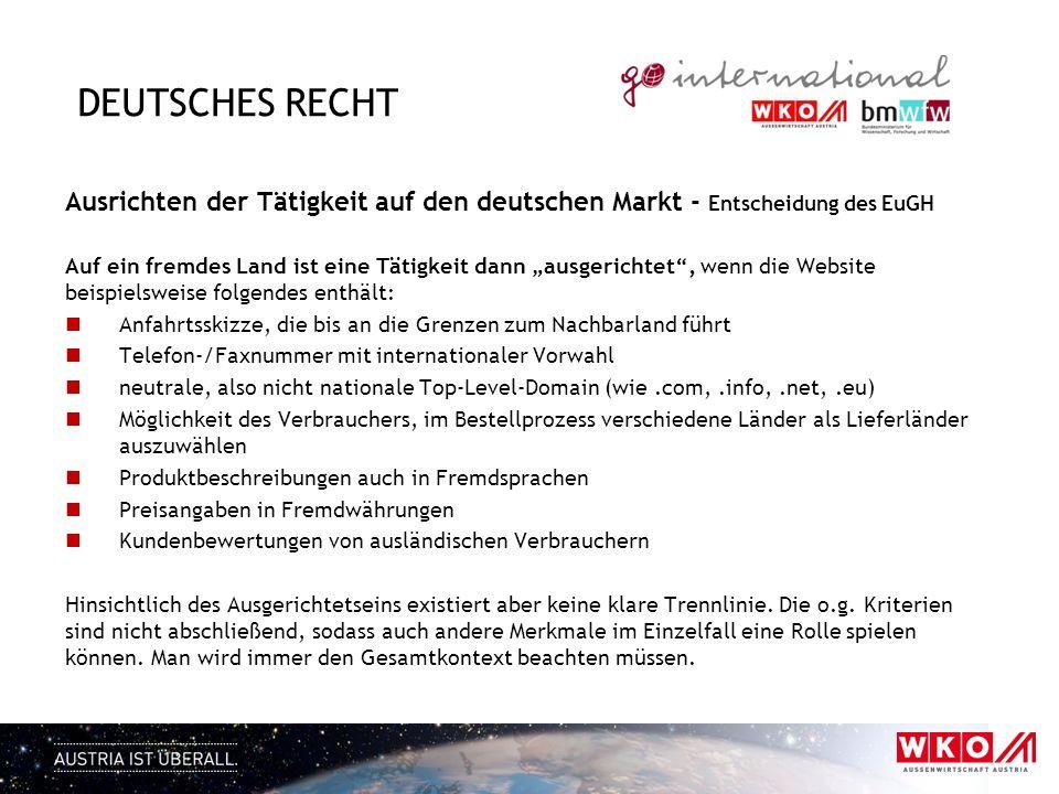 Deutsches Recht Ausrichten der Tätigkeit auf den deutschen Markt - Entscheidung des EuGH.