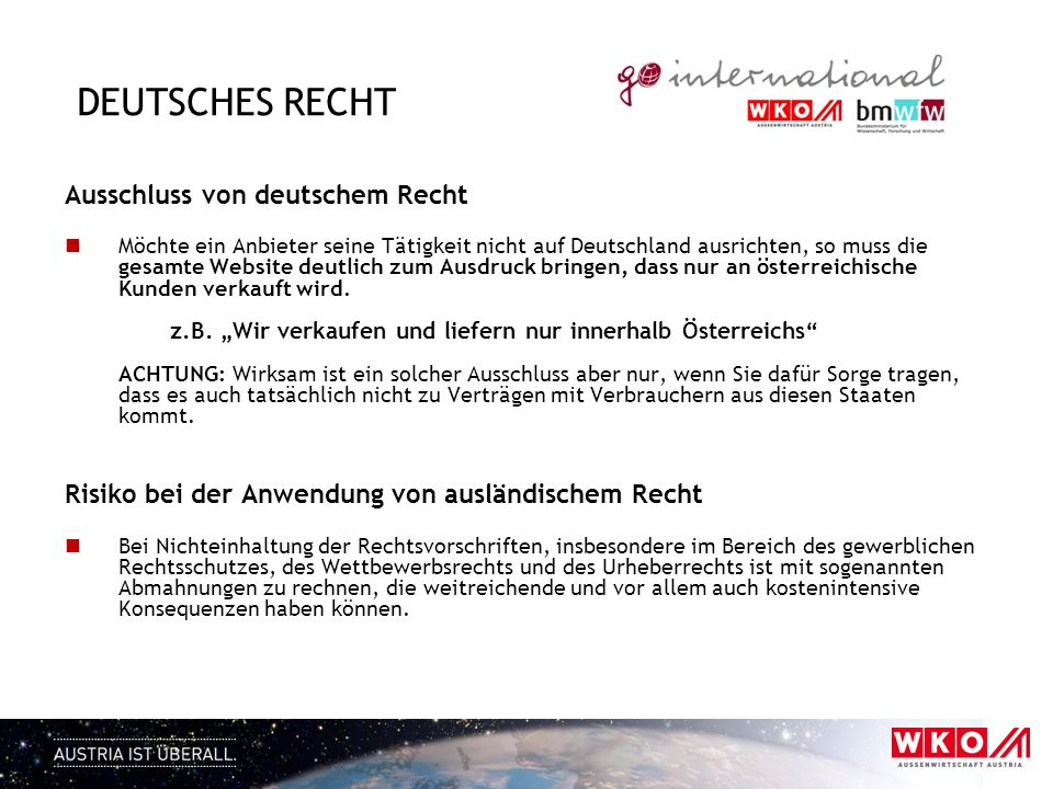 Deutsches Recht Ausschluss von deutschem Recht