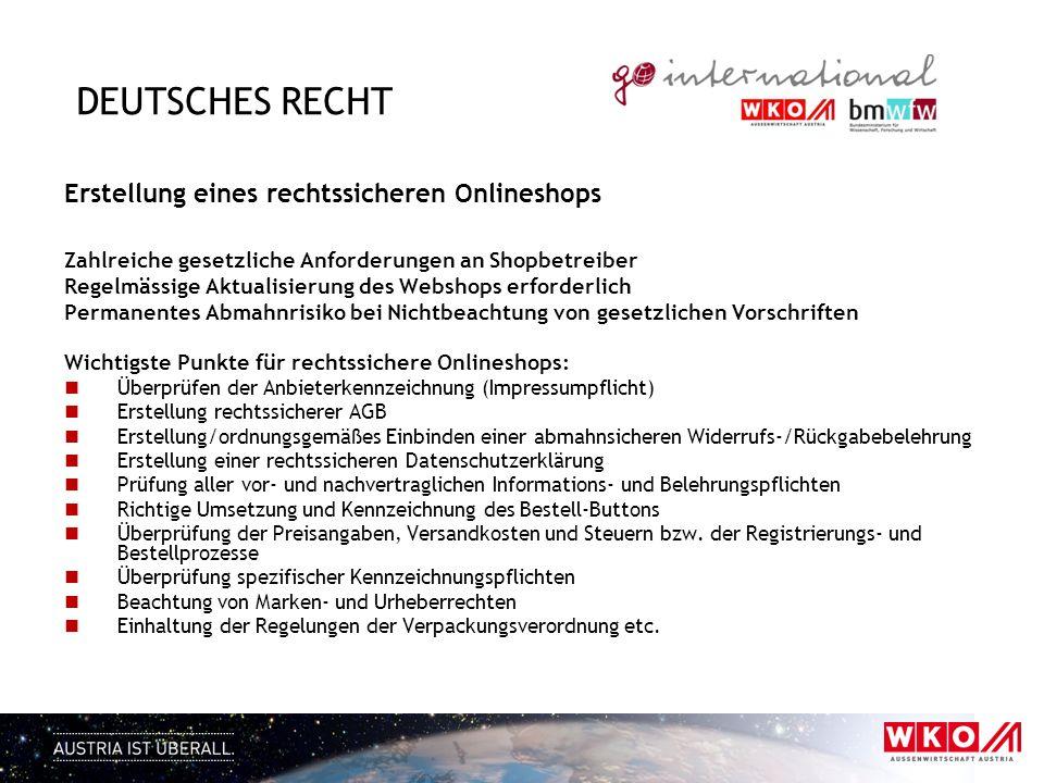 Deutsches Recht Erstellung eines rechtssicheren Onlineshops