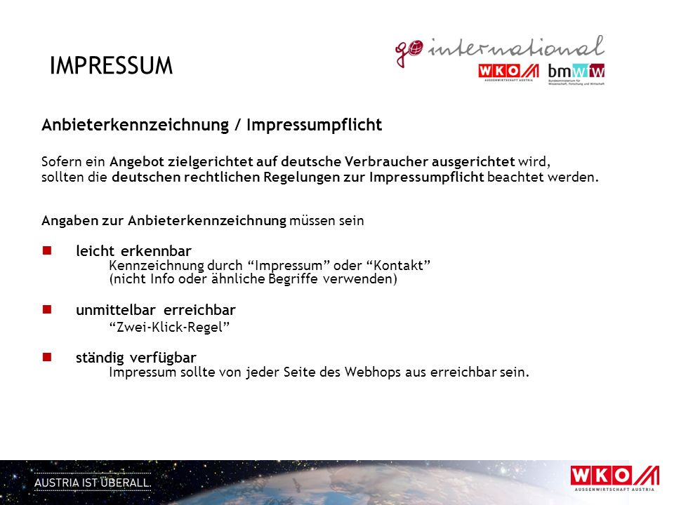 Impressum Anbieterkennzeichnung / Impressumpflicht