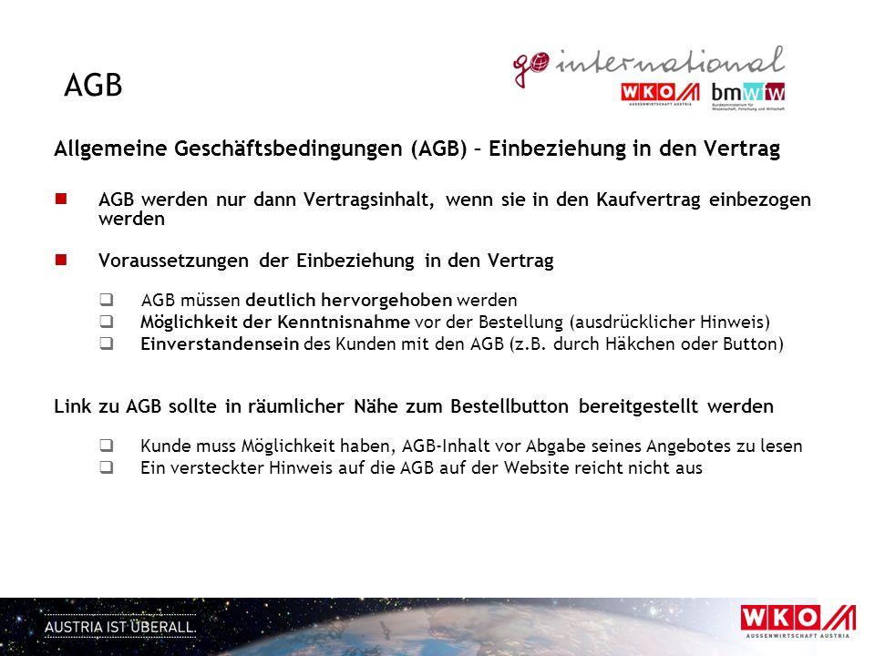 AGB Allgemeine Geschäftsbedingungen (AGB) – Einbeziehung in den Vertrag.