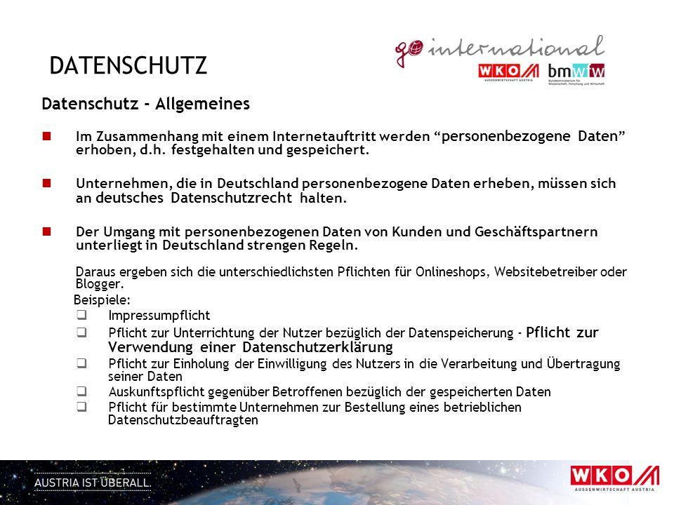 datenschutz Datenschutz - Allgemeines