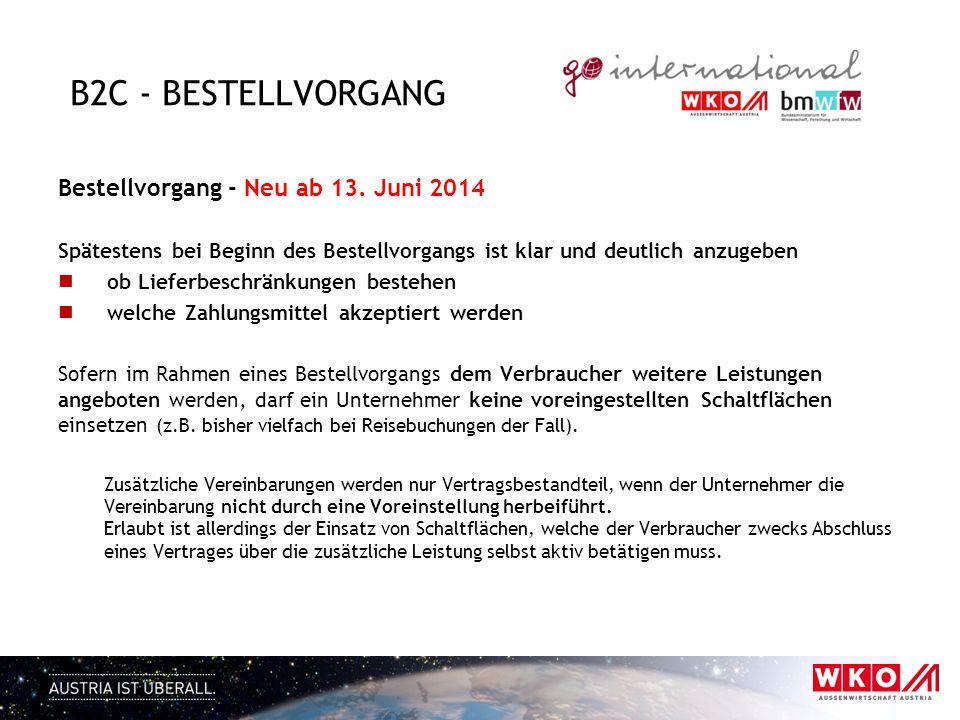B2C - Bestellvorgang Bestellvorgang - Neu ab 13. Juni 2014