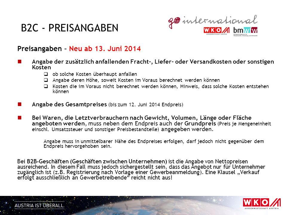 B2C - preisangaben Preisangaben – Neu ab 13. Juni 2014