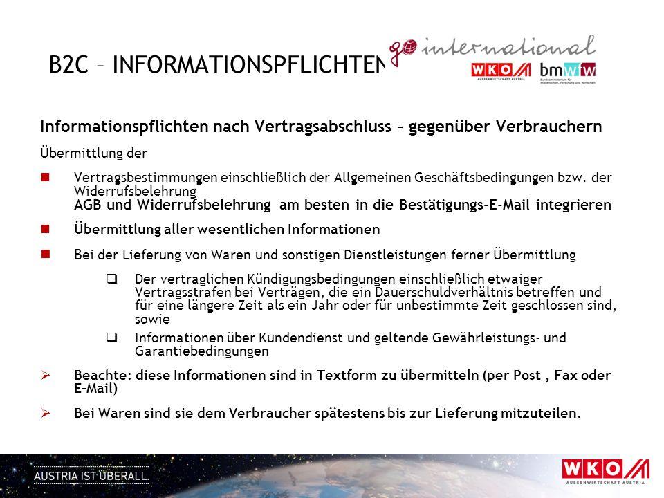 B2C – informationspflichten