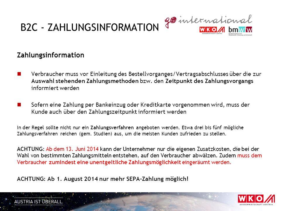 B2C - Zahlungsinformation