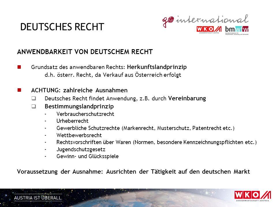 Deutsches Recht ANWENDBARKEIT VON DEUTSCHEM RECHT