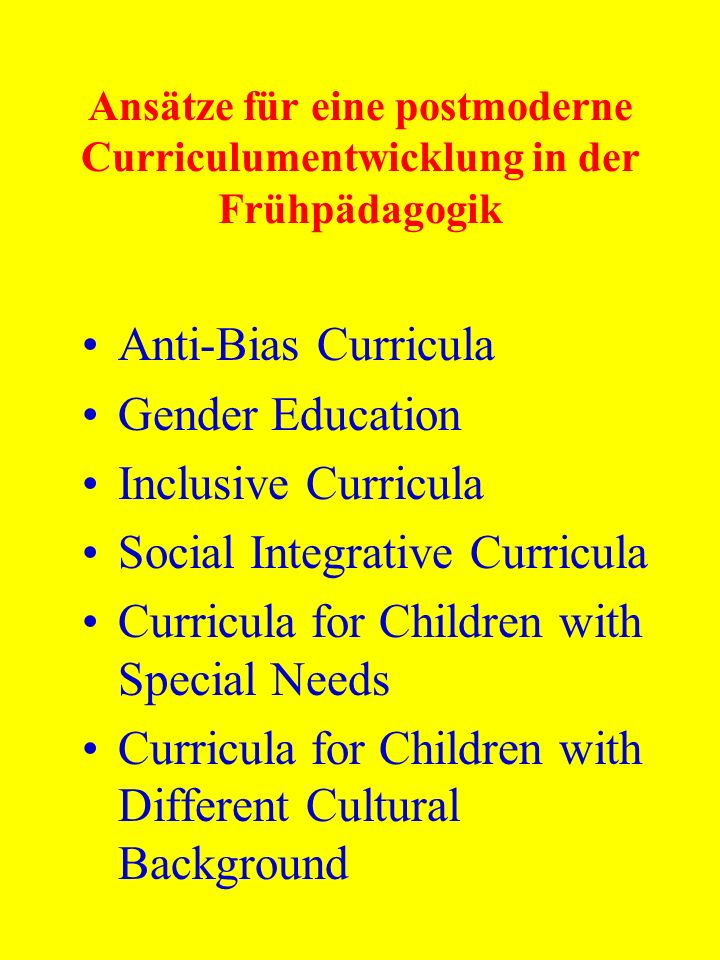 Social Integrative Curricula Curricula for Children with Special Needs