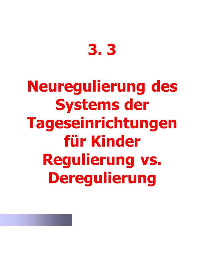 3. 3 Neuregulierung des Systems der Tageseinrichtungen für Kinder Regulierung vs. Deregulierung