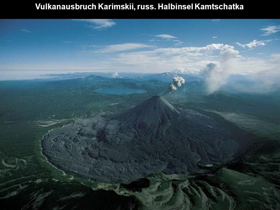 Vulkanausbruch Karimskii, russ. Halbinsel Kamtschatka