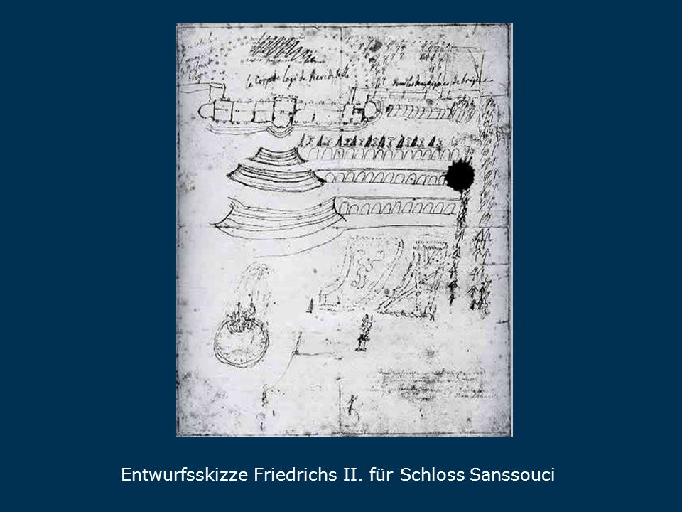 Skizze Entwurfsskizze Friedrichs II. für Schloss Sanssouci