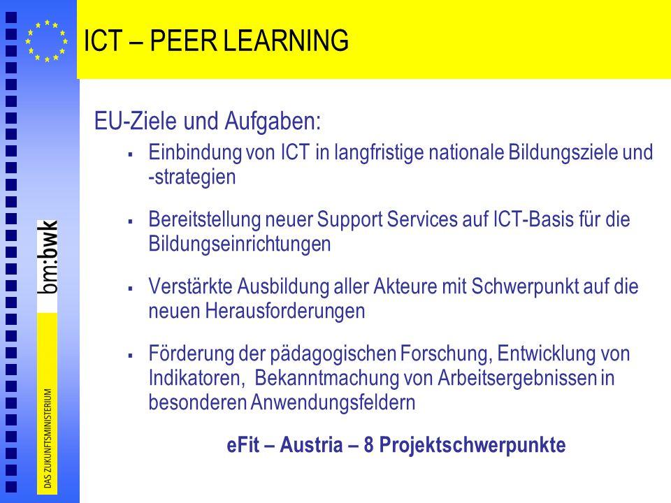 eFit – Austria – 8 Projektschwerpunkte