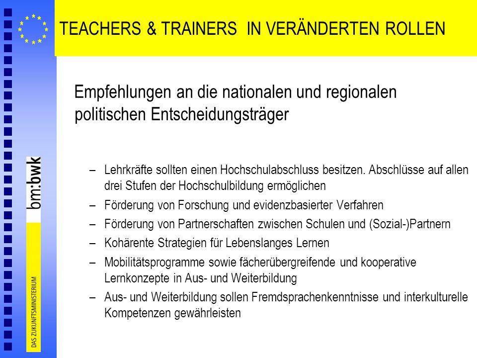 TEACHERS & TRAINERS IN VERÄNDERTEN ROLLEN