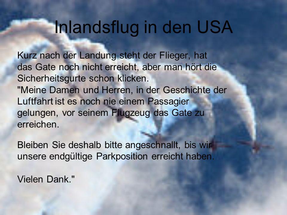 Inlandsflug in den USA Kurz nach der Landung steht der Flieger, hat