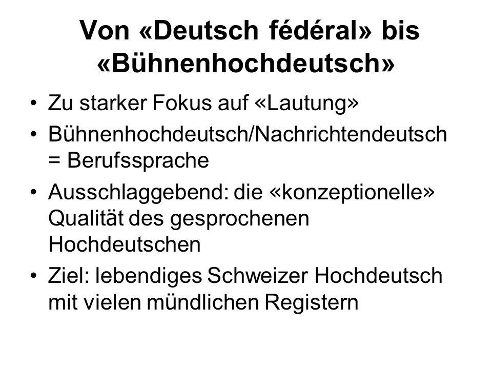 Von «Deutsch fédéral» bis «Bühnenhochdeutsch»