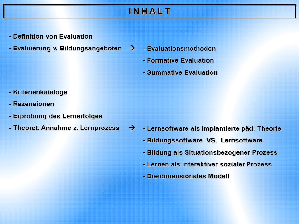 I N H A L T - Definition von Evaluation