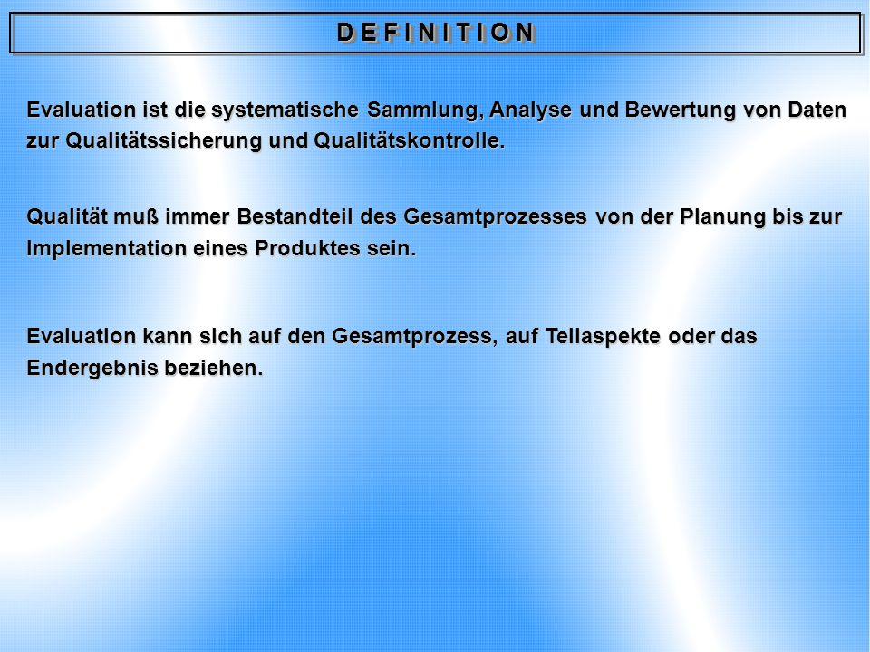 D E F I N I T I O N Evaluation ist die systematische Sammlung, Analyse und Bewertung von Daten zur Qualitätssicherung und Qualitätskontrolle.