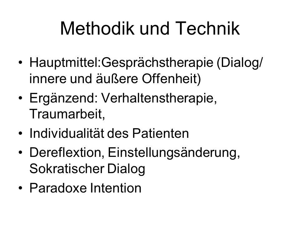 Methodik und Technik Hauptmittel:Gesprächstherapie (Dialog/ innere und äußere Offenheit) Ergänzend: Verhaltenstherapie, Traumarbeit,