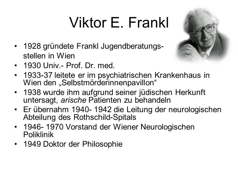 Viktor E. Frankl 1928 gründete Frankl Jugendberatungs- stellen in Wien