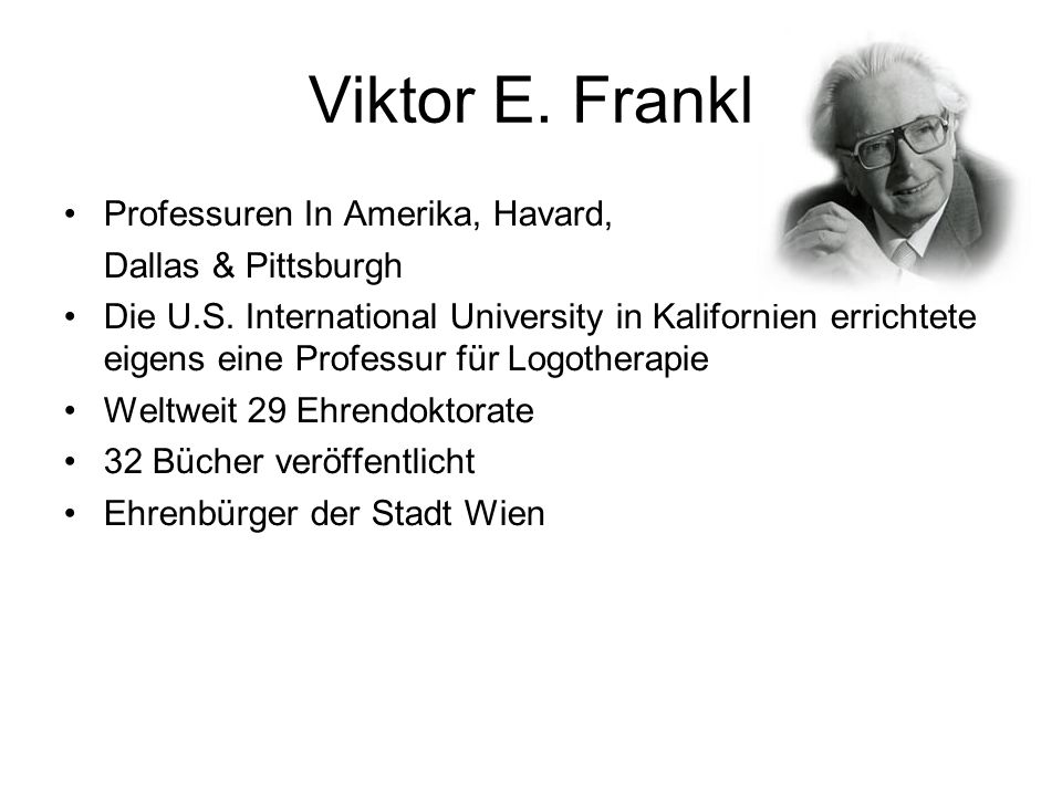 Viktor E. Frankl Professuren In Amerika, Havard, Dallas & Pittsburgh